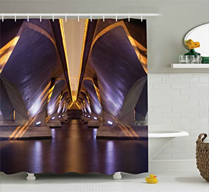 Ambesonne Ancient Decor Shower Curtain Sci Fi Style Asian Ethnic Modern Road Tunnel Urban Light