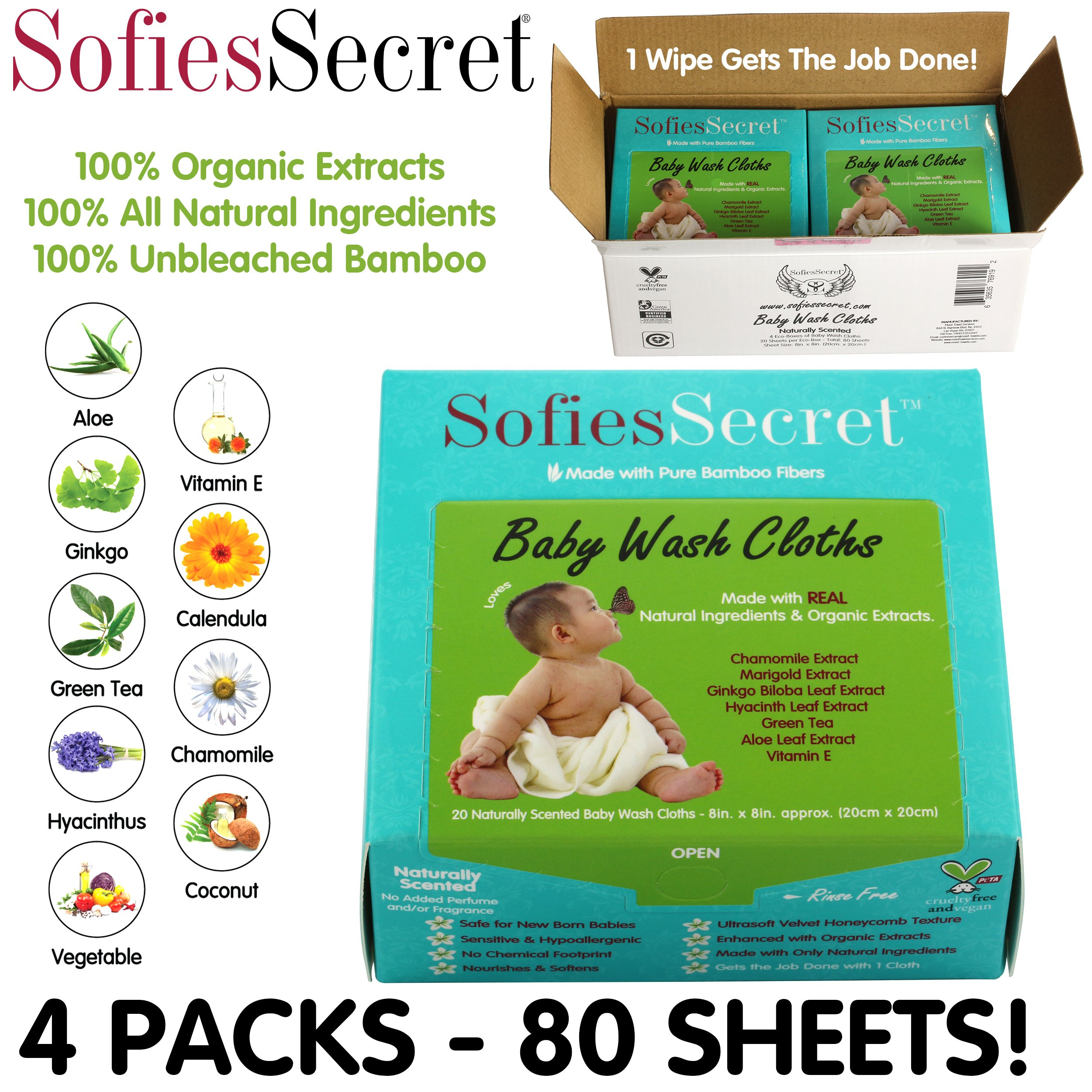 SofiesSecret Fragrance FREE Bamboo Baby Wipes, 100% Organic &Natural Ingredients, 80 Count, 8'' x 8'', Hypoallergenic, Sensitive