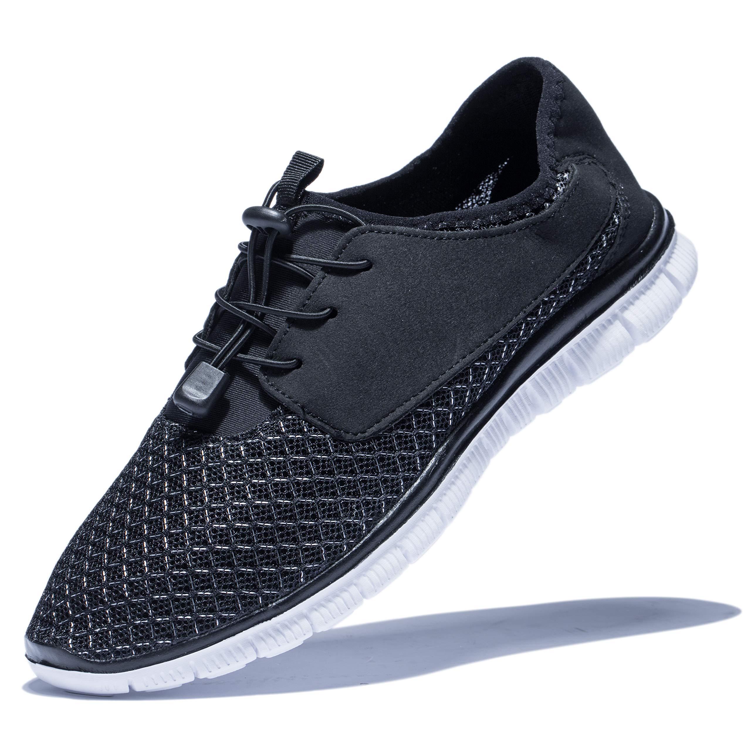 KENSBUY Men's Walking Sneakers Lightweight Mesh Lace Up Shoes(Black EU41) by KENSBUY (Image #1)