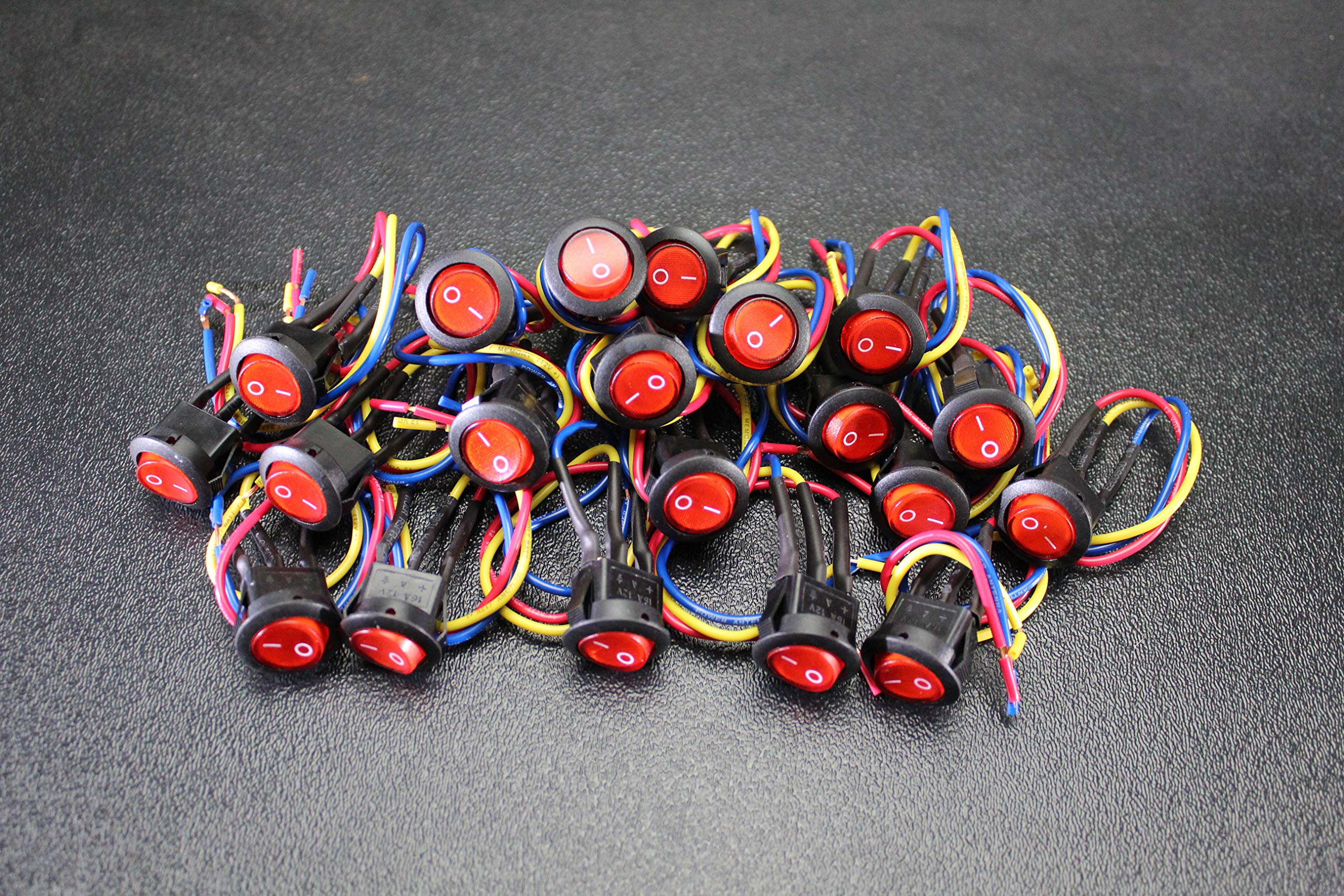 20 PCS Rocker Switch ON Off RED Toggle LED 12V 16 AMP 3 PIN IS-EC-IR1216RED by ENNIS ELECTRONICS