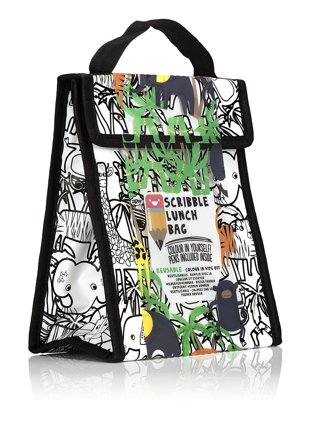 NPW NP31829 Wipe-Off Scribble Lunch Bag and Marker Set Medium Animals