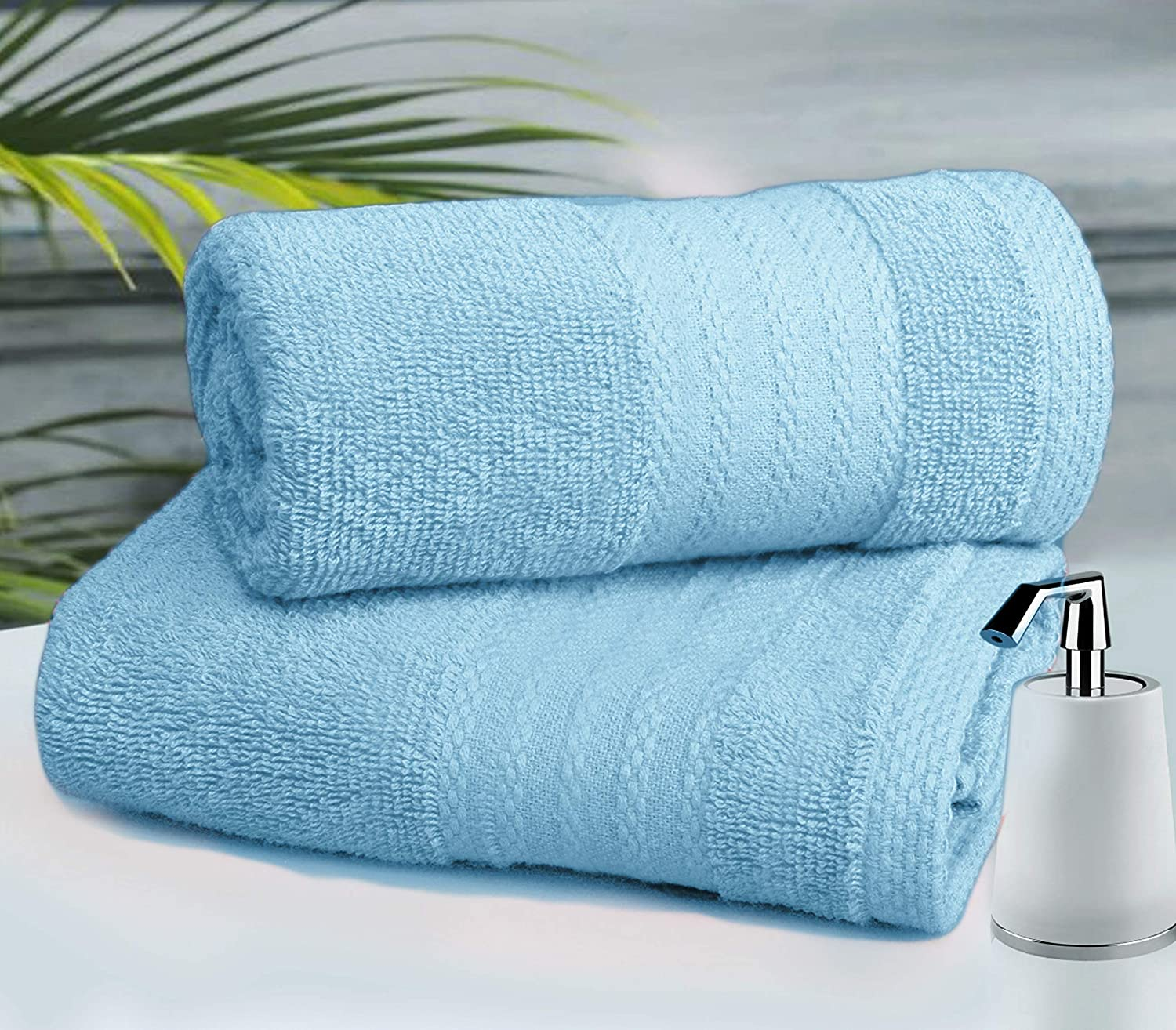 Glamburg Premium Cotton 4 Pack Bath Towel Set - 100% Pure Cotton - 4 Bath Towels 27x54 - Ideal for Everyday use - Ultra Soft & Highly Absorbent - Black: Kitchen & Dining