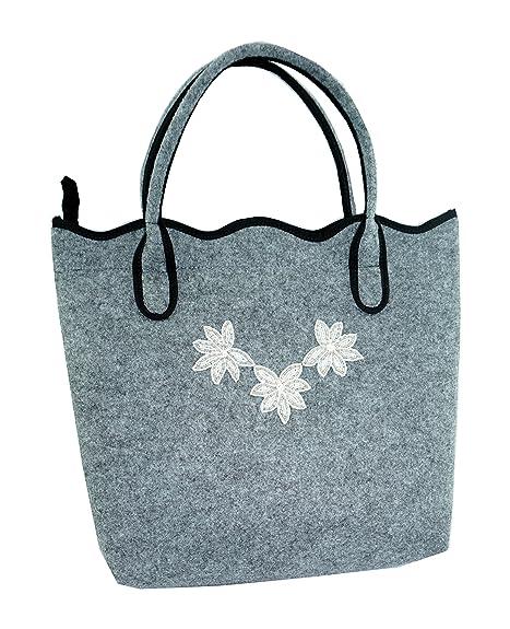 ART SHOP - Cartera de mano con asa de Fieltro para mujer gris antracita: Amazon.es: Zapatos y complementos