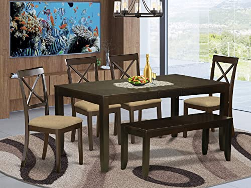 East West Furniture LYBO6-CAP-C 6-Piece Dining Set Rectangular Top Dining Room Table and Dining Bench 4 Dining Room Chairs X-Back and Linen Fabric Seat Cappuccino Finish