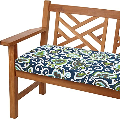 Mozaic AZCS2064 Indoor or Outdoor Bench Cushion with Corded Edges and Tie Backs, 60 inches, Navy Green Floral