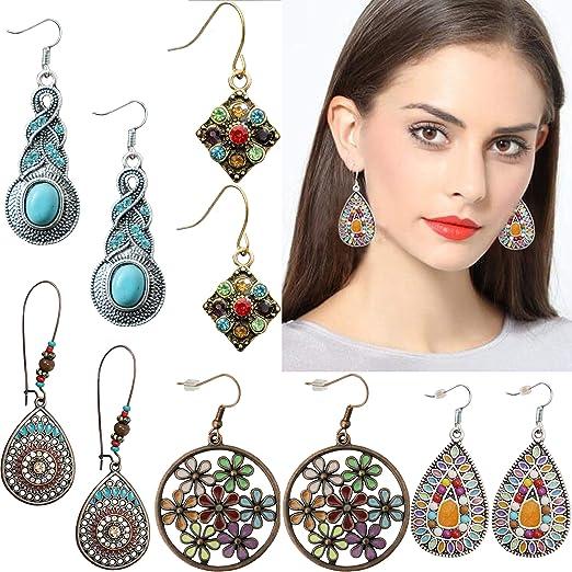Bohemian Gold Silver Vintage Turquoise Water Drop Dangle Ethnic Stud Earrings