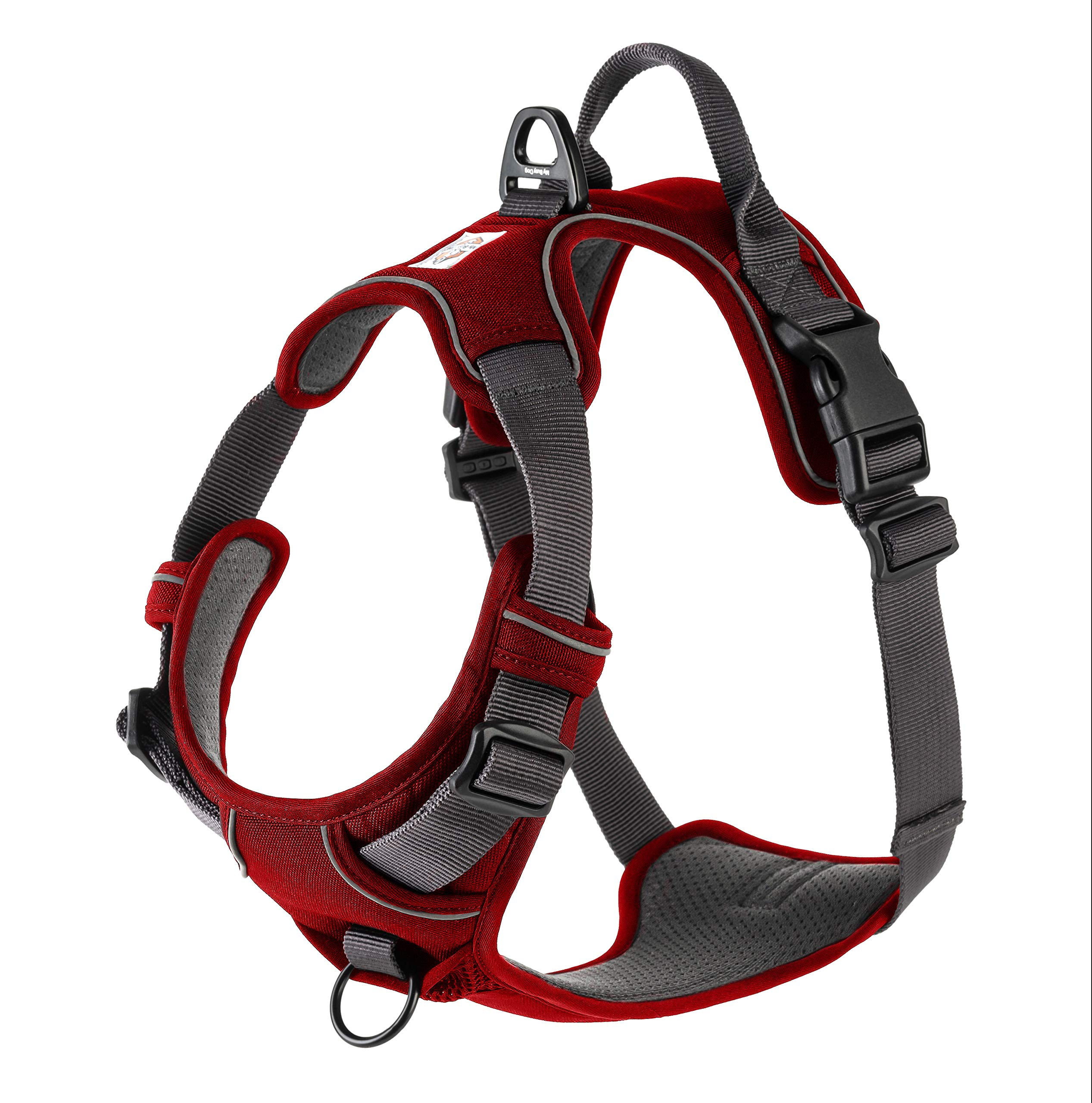 My Busy Dog Harness Vest | No Pull, Easy On/Off, Front/Back Metal Leash Attachments, Handle, Reflective, Secure Fit | Perfect for Small Medium Large Dogs | Size Chart in Pictures (Medium, Red)
