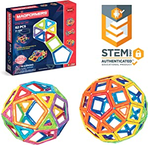 Magformers Basic Set (62-Pieces)Magnetic Building Blocks, Educational Magnetic Tiles, Magnetic Building STEM Toy