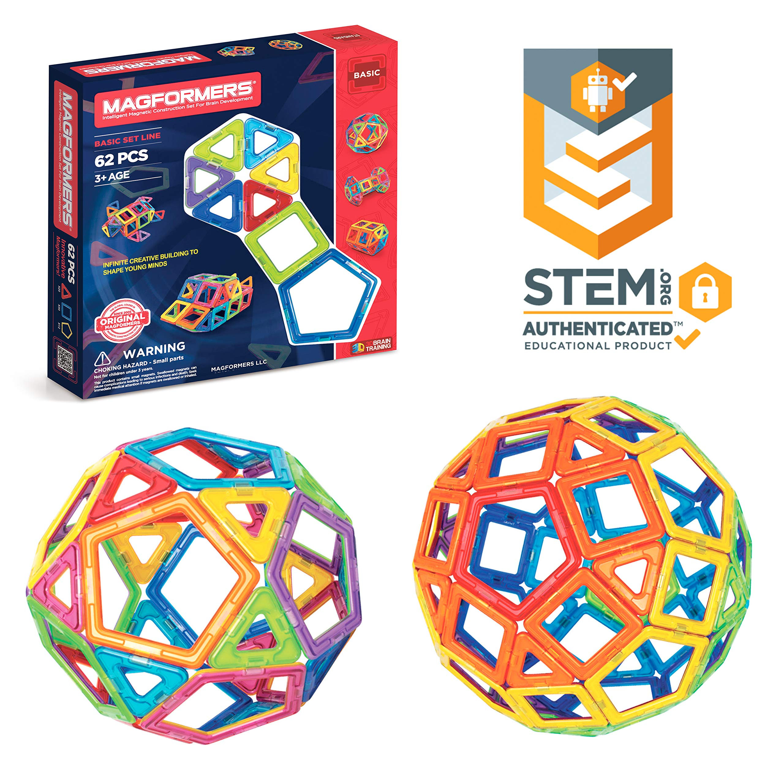 Magformers Basic Set (62-Pieces)  Magnetic Building Blocks, Educational Magnetic Tiles, Magnetic Building STEM Toy by Magformers