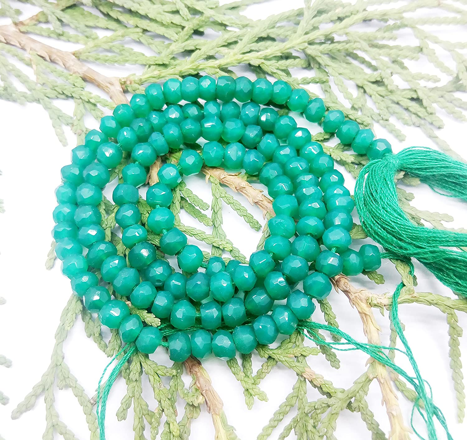 Doo offer Sell on 2 Strand Green Onyx Size in 4 mm, Shape of Rondelle & Faceted for All Type Persons Powered By GEM MART U.S.A.