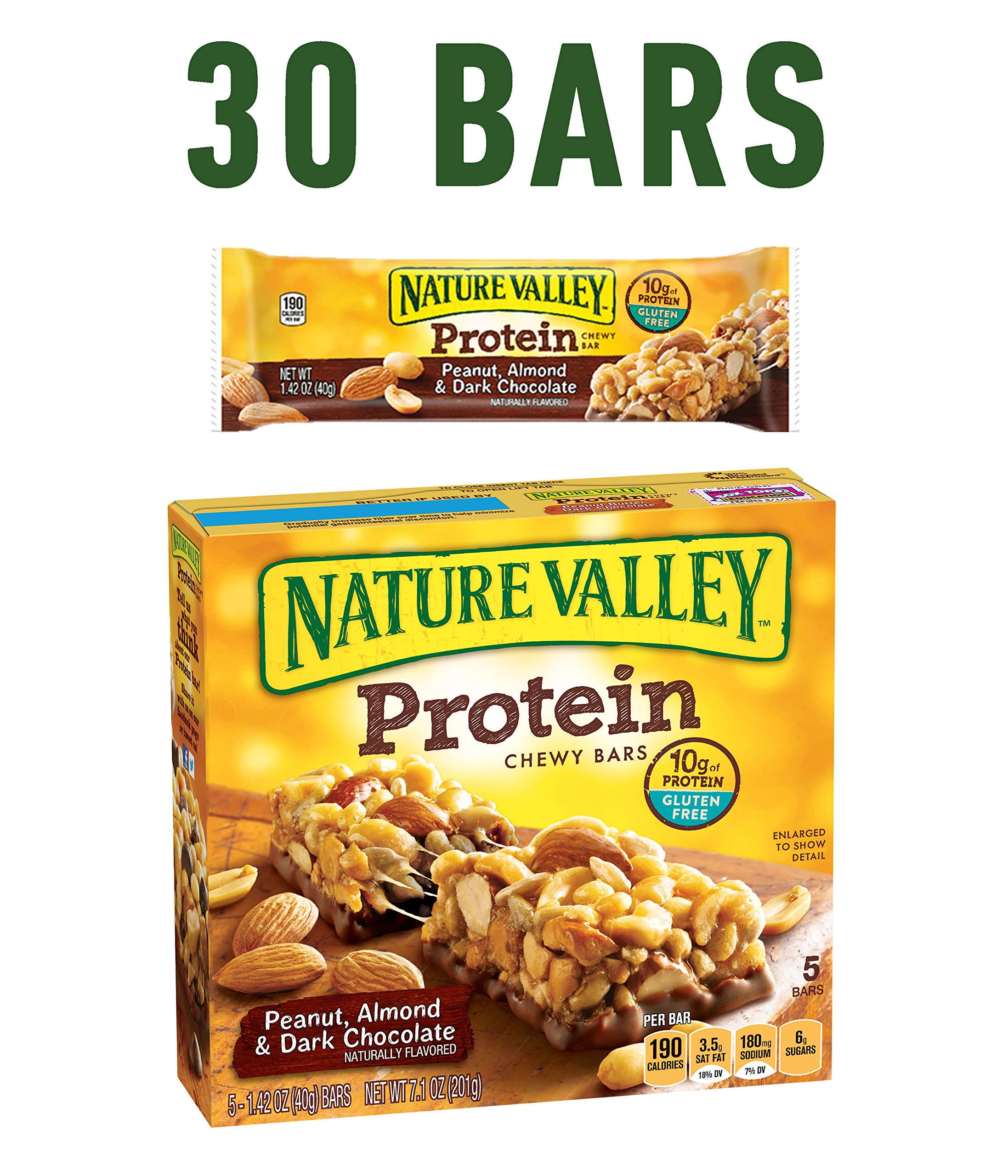 Nature Valley Chewy Granola Bar, Protein, Peanut, Almond and Dark Chocolate, Gluten Free,  1.4 Oz, 5 Count (Pack of 6)