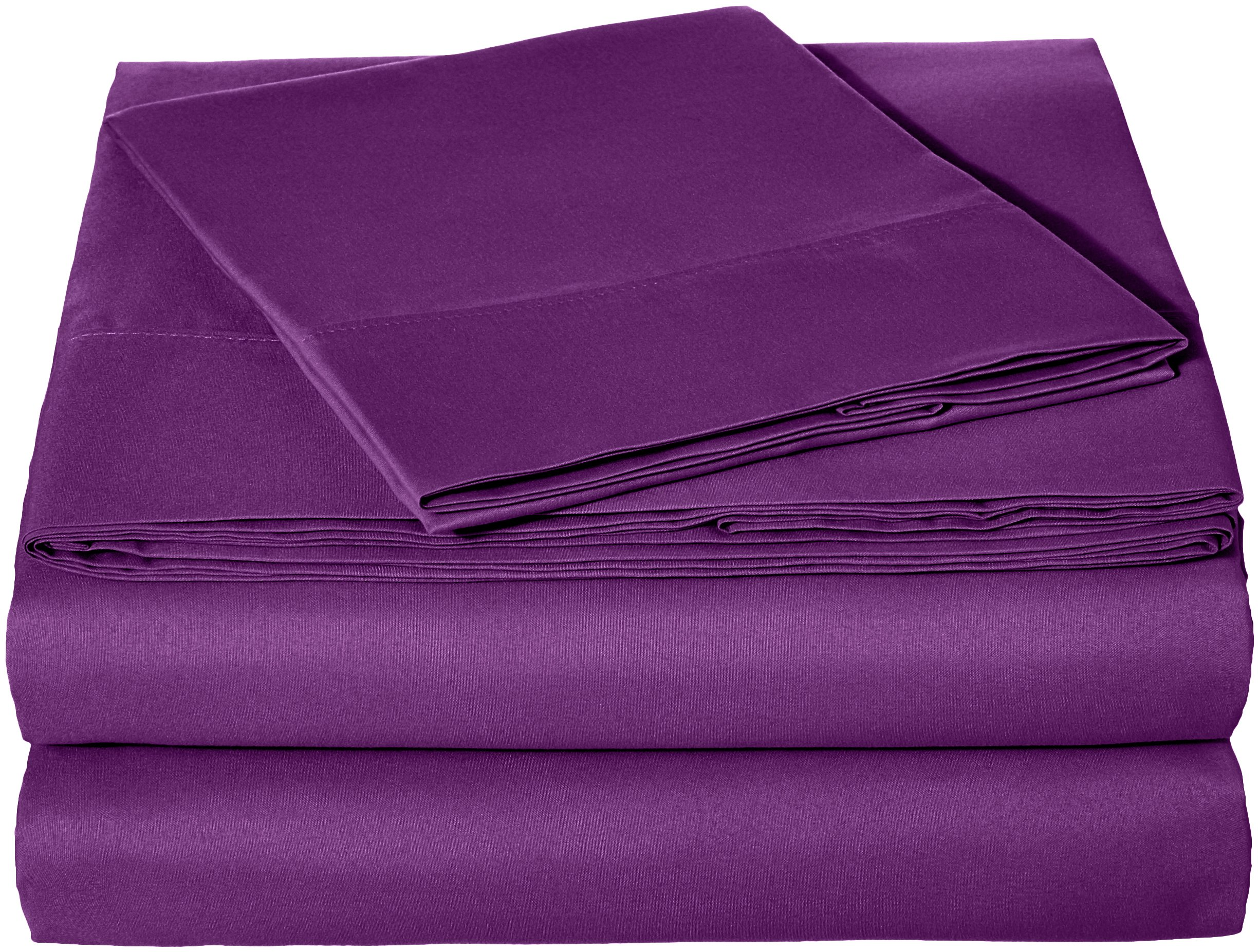 AmazonBasics Microfiber Sheet Set - Twin Extra-Long, Plum