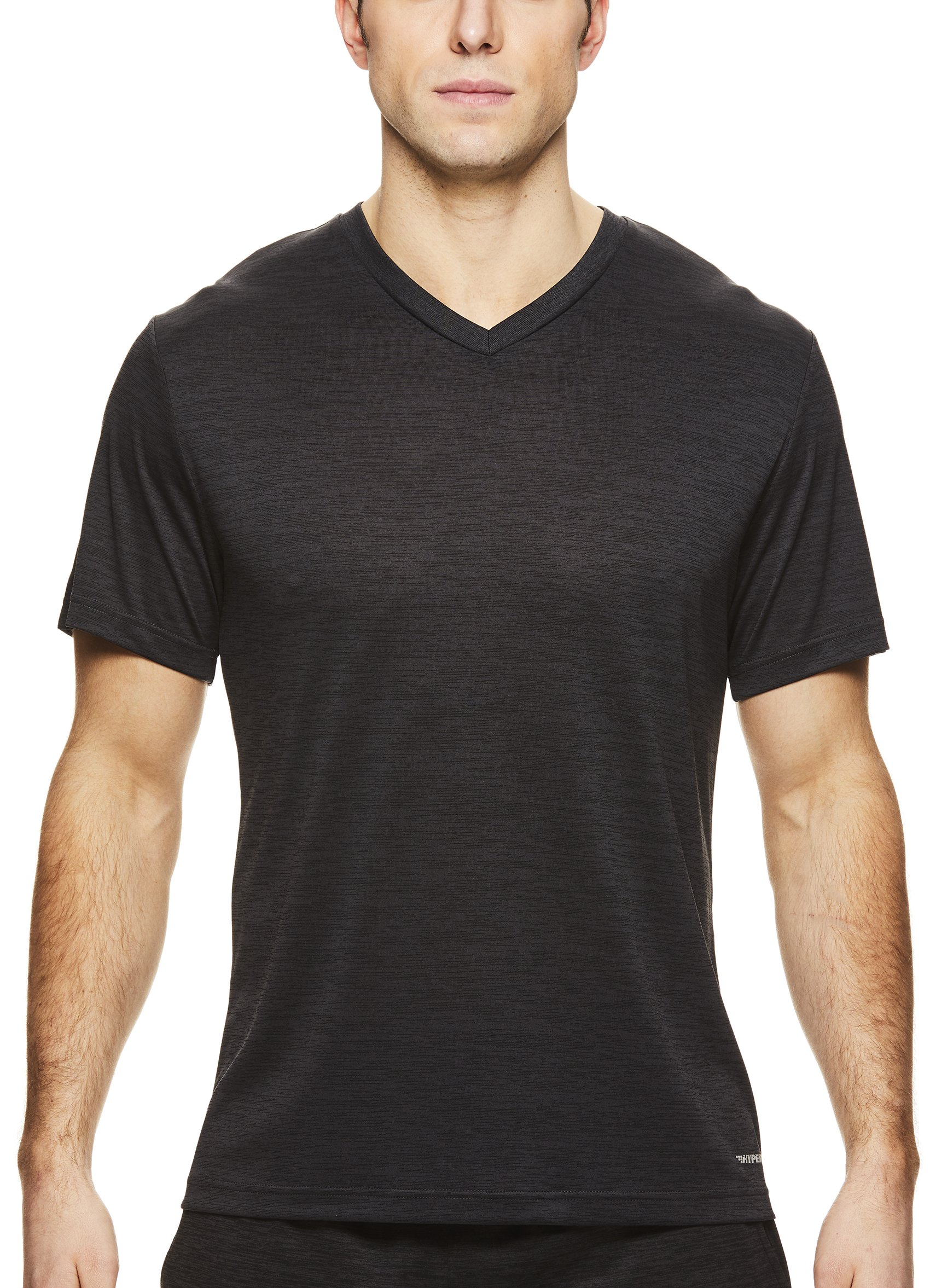HEAD Men's V Neck Gym Training & Workout T-Shirt - Short Sleeve Activewear Top - Flash Black Heather, Medium