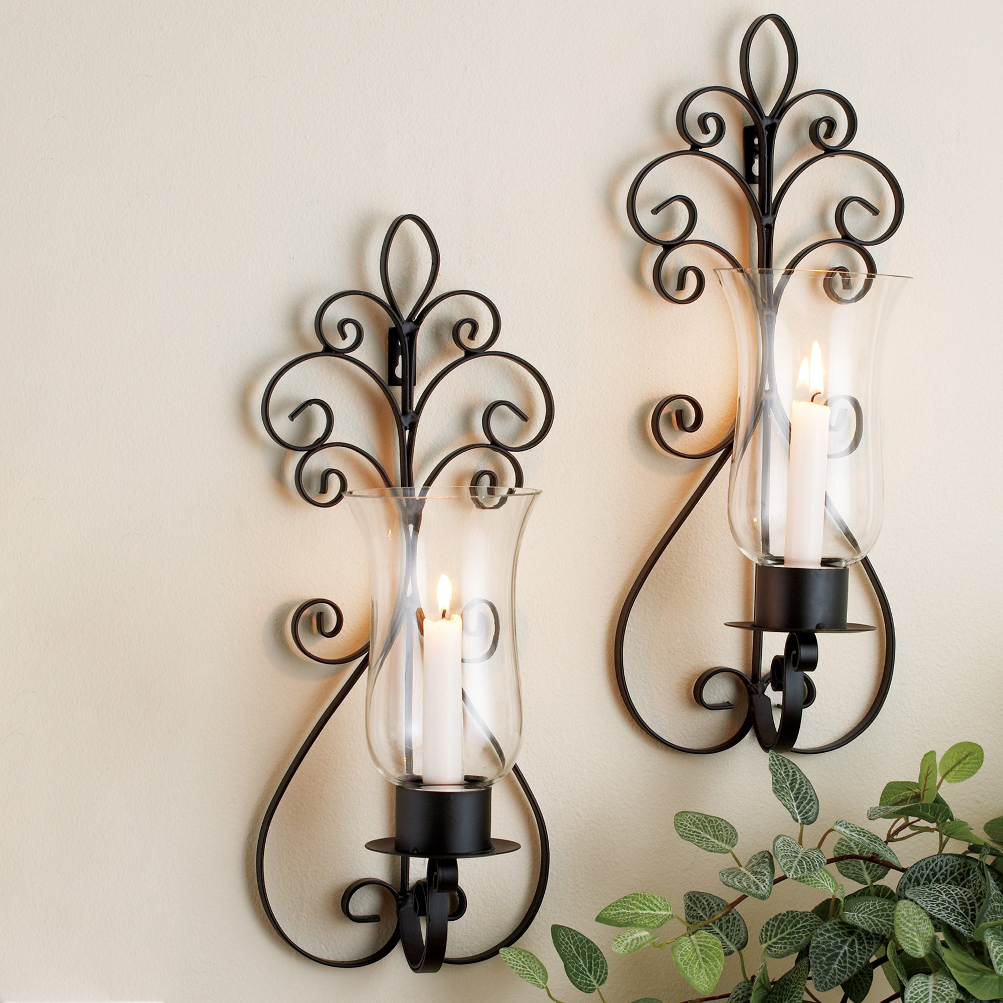Set of Two Decorative Brown Metal and Pear Glass Wall Sconce Candle Holde,r Wall Lighting - Set of Two Pear Sconces, Perfect for a living room dining room or entry way