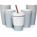 Set of 50 12oz Paper Coffee Cups, Lids, Sleeves, and Stirrers | Perfect for a Party or the Office | Drink your Coffee or Tea on the Go and in Style! | Blue Check Design