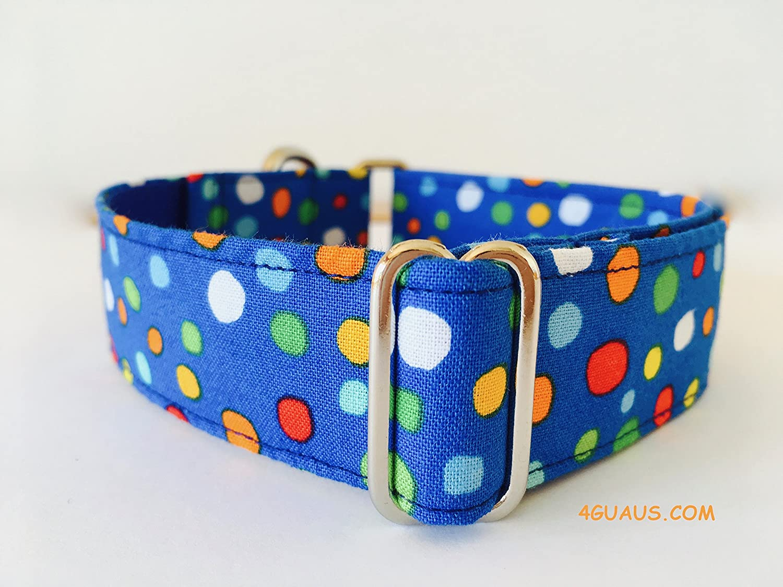 Collar Perro Martingale Modelo Lunares colores azul