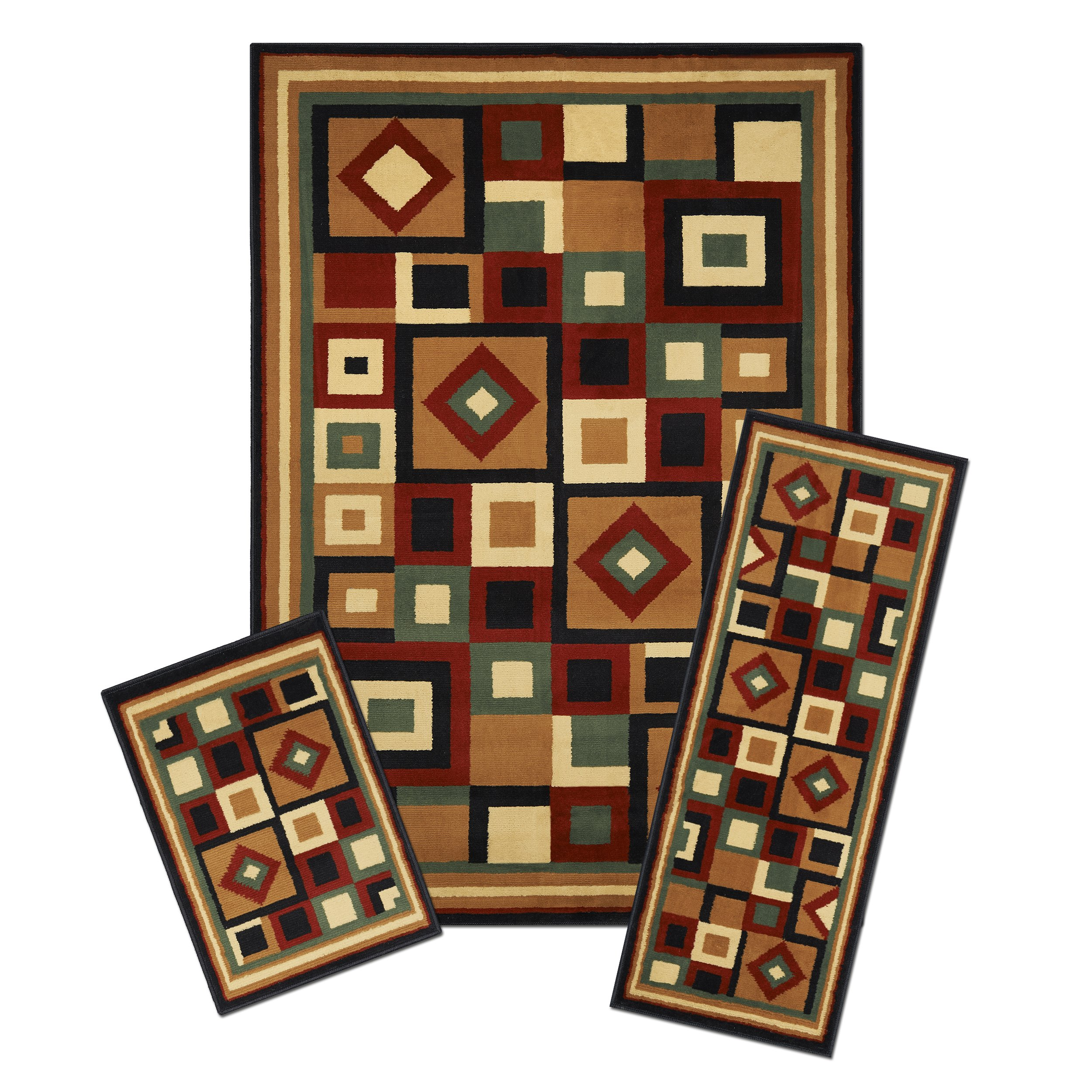 Achim Home Furnishings 3 Piece Capri Rug Set, 5 by 8', Chelsea