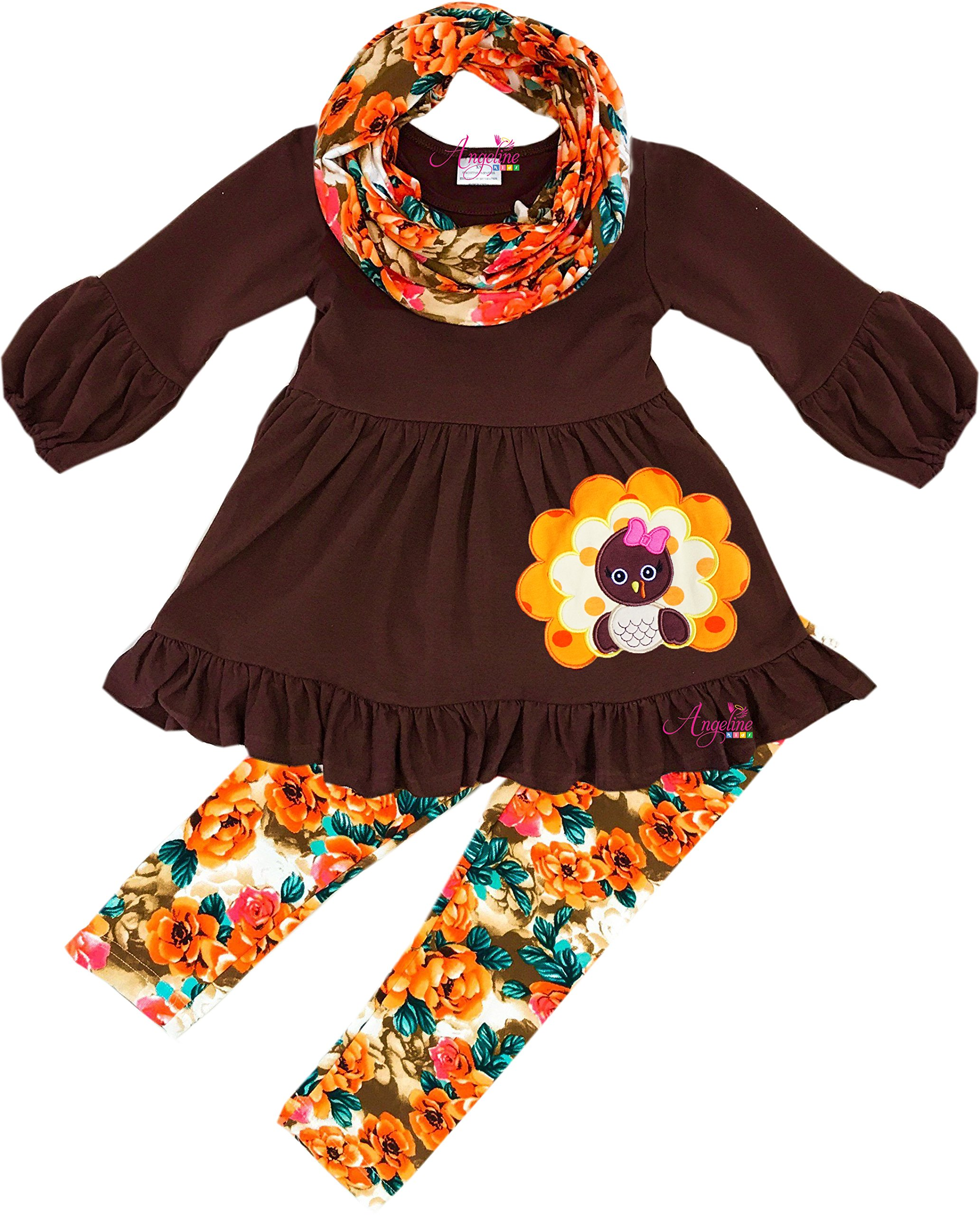 Angeline Boutique Clothing Girls Thanksgiving Turkey Vintage Floral Scarf Legging Set 7T/2XL