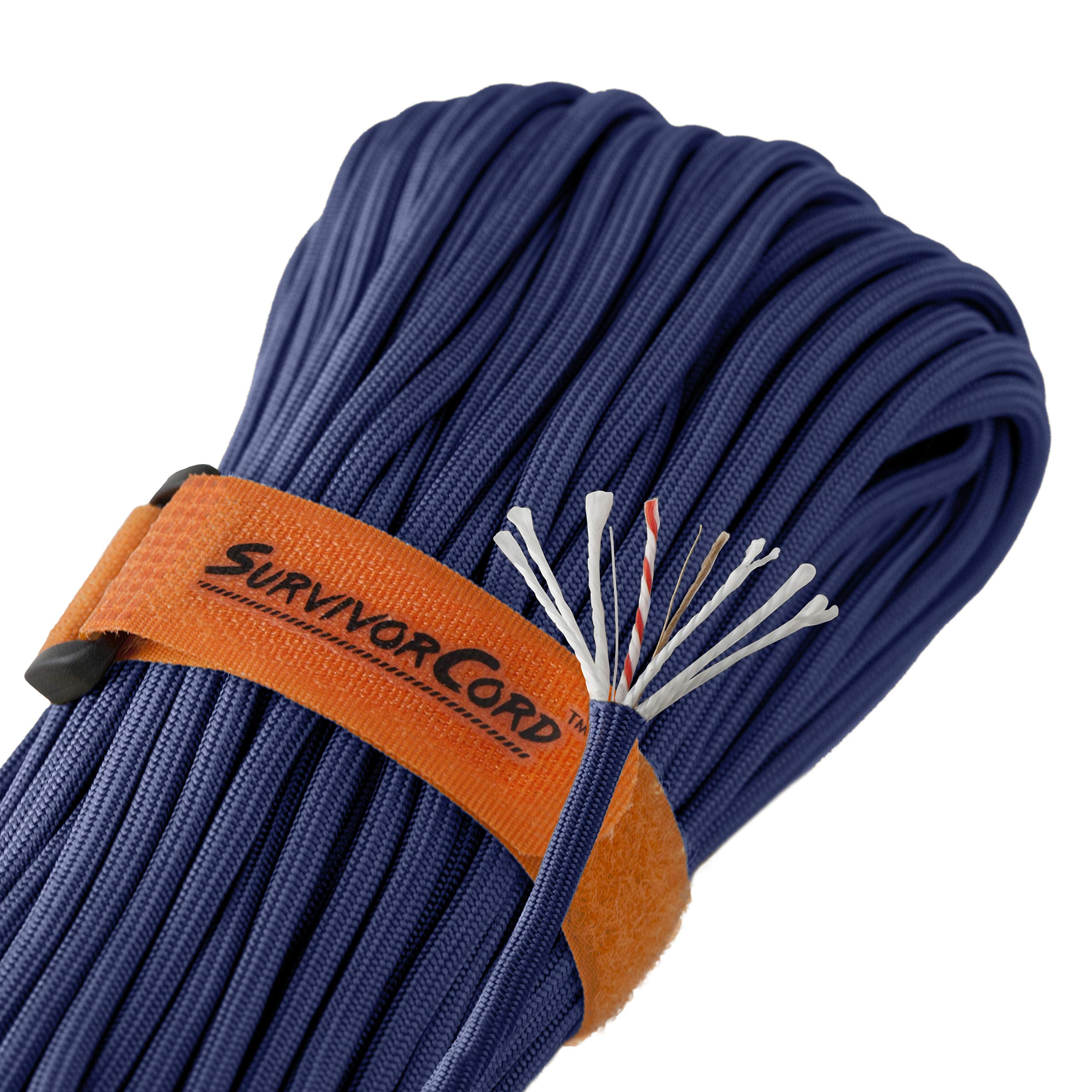 Titan SurvivorCord | Royal Blue | 103 Feet | Patented Military Type III 550 Paracord/Parachute Cord (3/16'' Diameter) with Integrated Fishing Line, Fire-Starter, and Utility Wire.