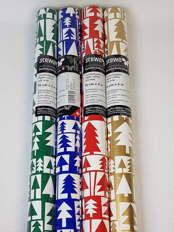 extra resistente 200 x 70 cm STEWO 127580-4 rotoli di carta da regalo natalizia massima qualit/à