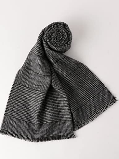 Merino Wool Scarf Glen Plaid 3136-343-0332: Black