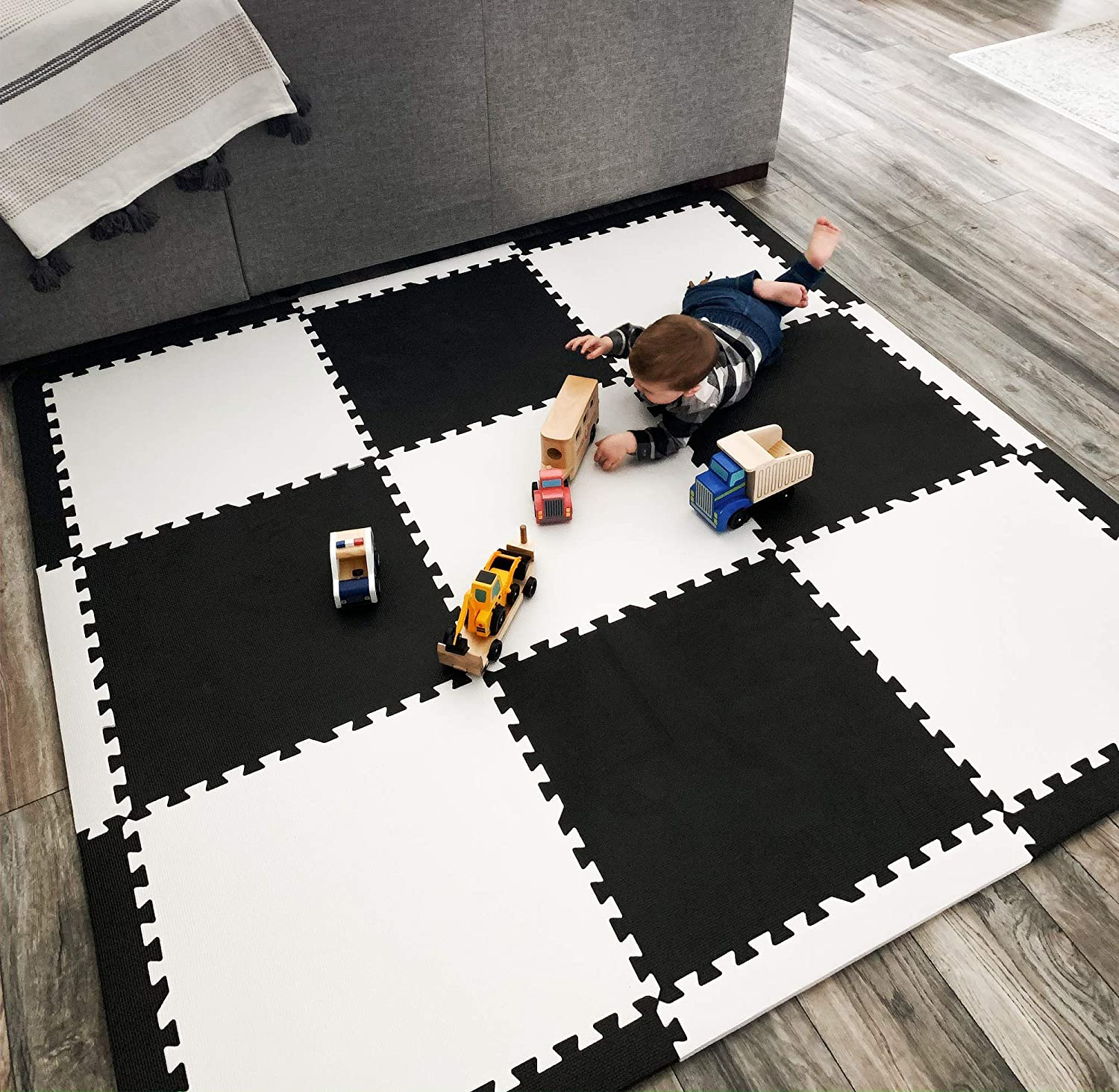 """Baby Play Mat Tiles Extra Large Thick Foam Floor Puzzle Mat Interlocking Playmat for Infants Toddlers Kids Babies Crawling Tummy Time 74"""" x 74"""" (Black/White)"""