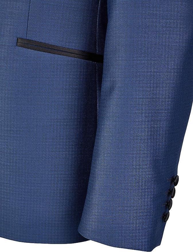 schwarzes Revers Mitternachtsblau mit Cooler Musterung Super-Slimline Wilvorst Smokingjacket Drop8