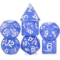 Shiny Dice Set D&D,DNDND 7 PCS Blue Resin Polyhedral Dice with Organza Bag for DND Dungeons and Dragons Role Playing Games and Table Games