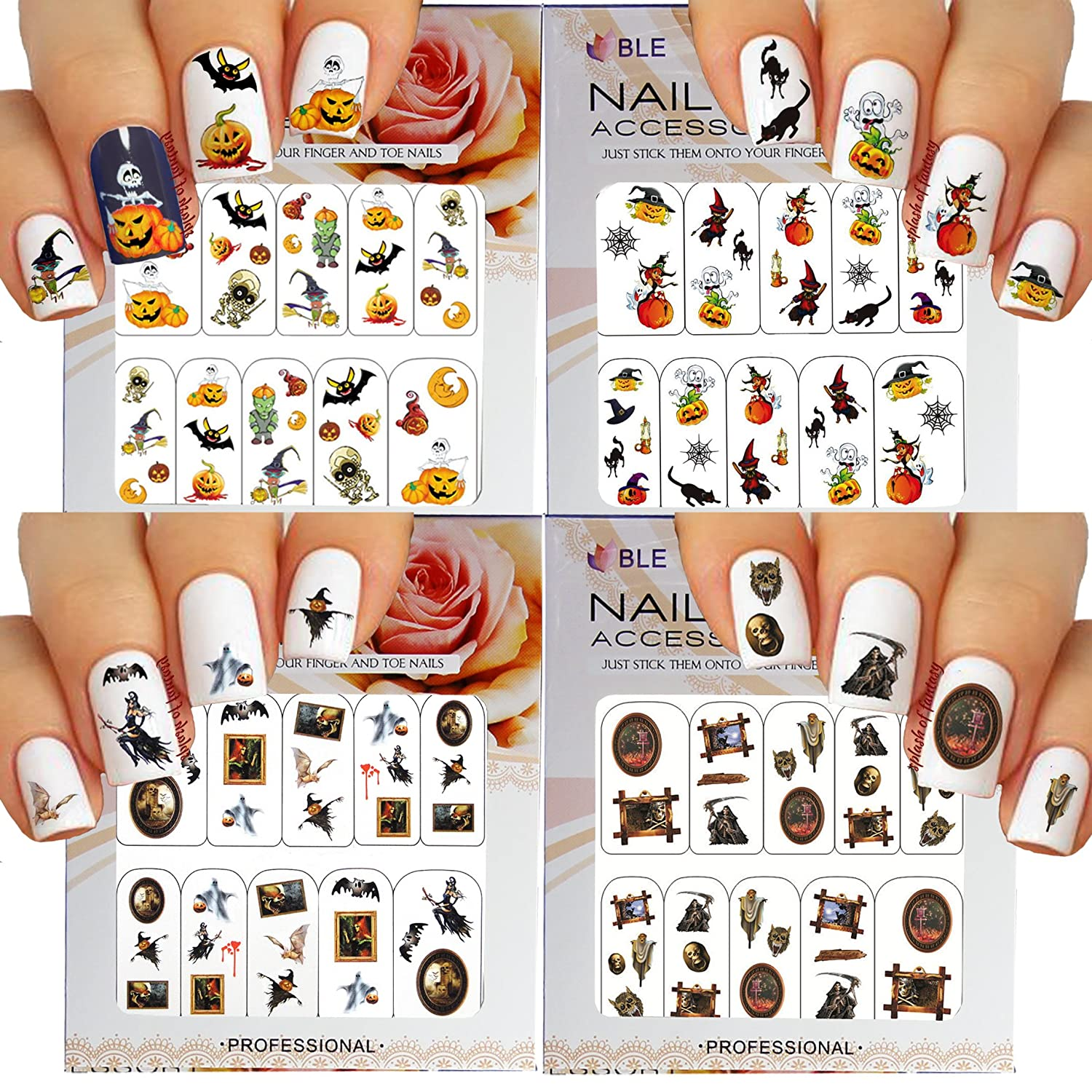 Amazon Com Halloween Nail Art Water Slide Tattoo Stickers Decals Fun And Scary Pack Of 4 Beauty
