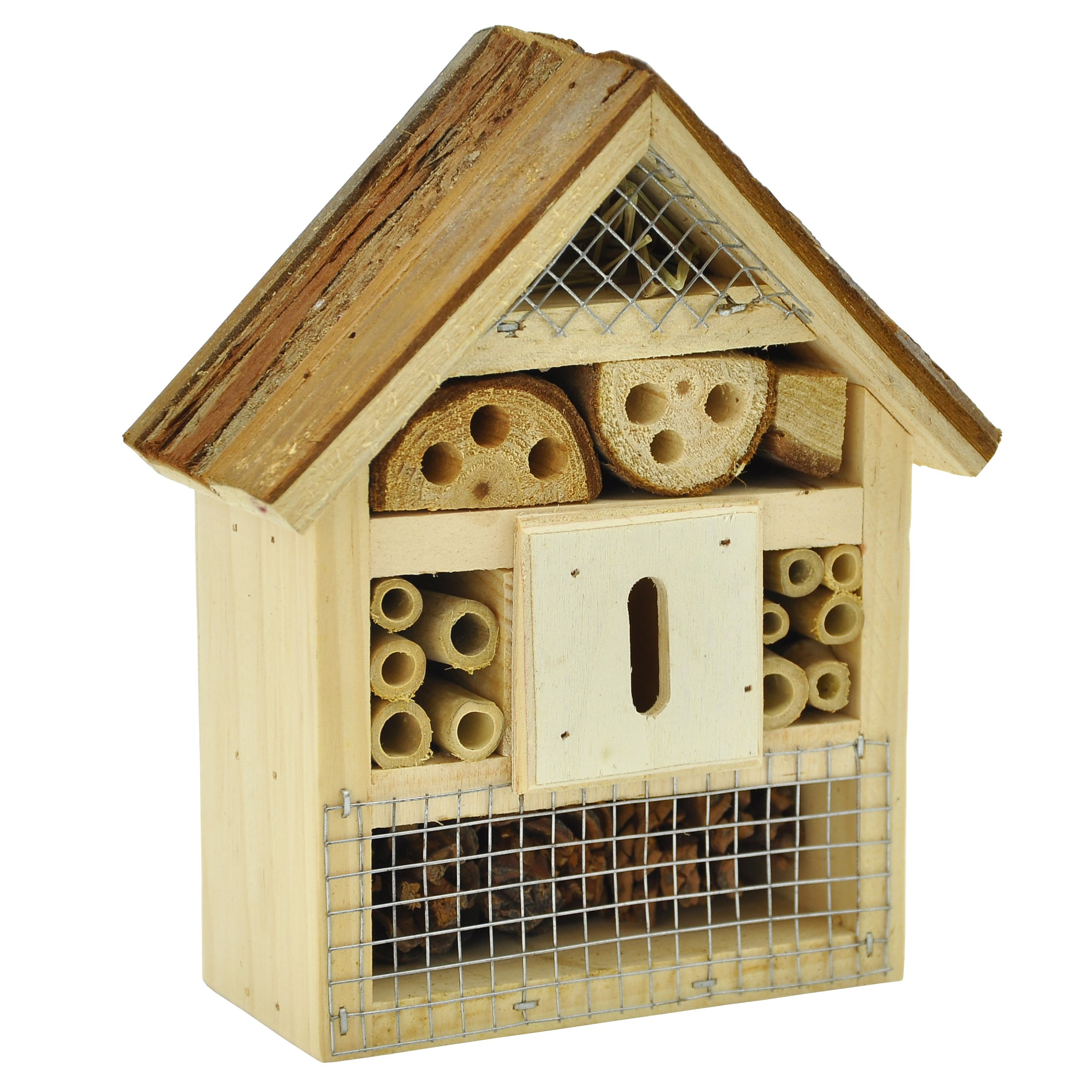 Gardirect Wooden Insect Hotel & Bee House, Small Size, 6'' x 2-3/4'' x 7''