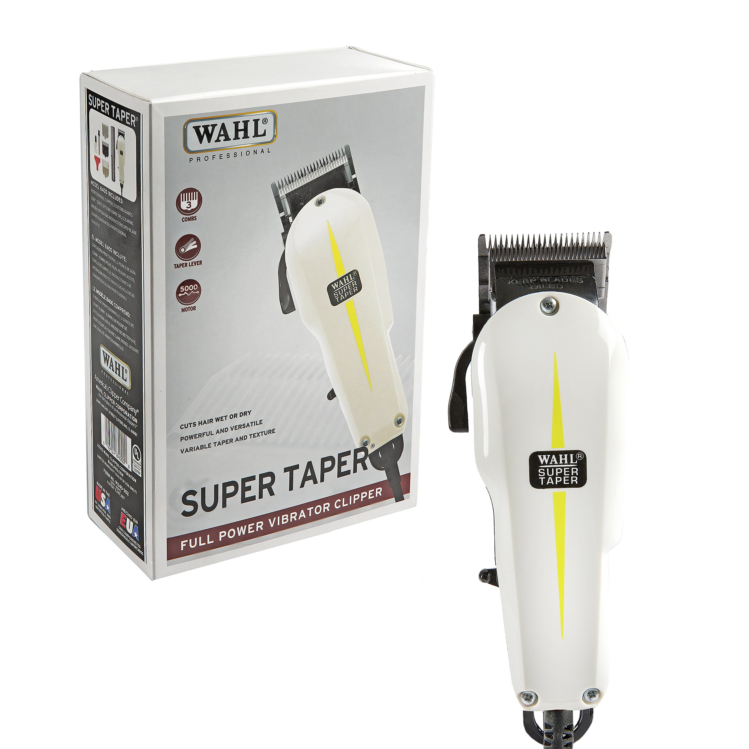 Wahl Professional Super Taper Hair Clipper #8400 - Full Power Vibrator Clipper - V5000 Electromagnetic Motor - Includes 3 Attachment Combs by Wahl Professional