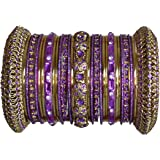 Indian Bridal Collection! Panache' Purple Bangles Set in Gold Tone by BangleEmporium X-Small Size 2.4