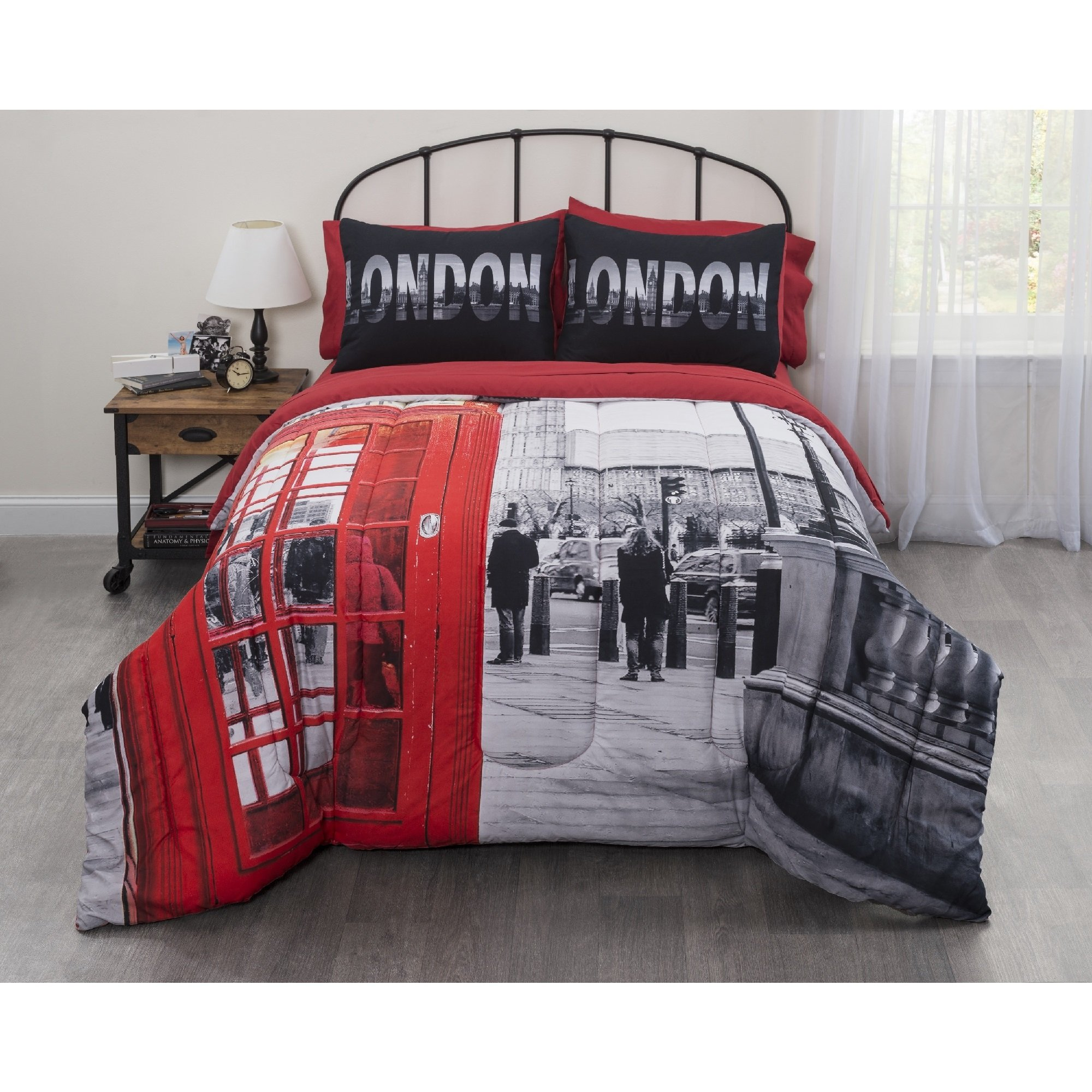 5 Piece Graphic Big Ben Photobooth London Bed In a Bag Design Sheet Set Twin XL Size, Printed Painting European Canvas Bedding, Bold Vintage British Country Spot Theme, Rustic Luxury Motif, Red, Grey