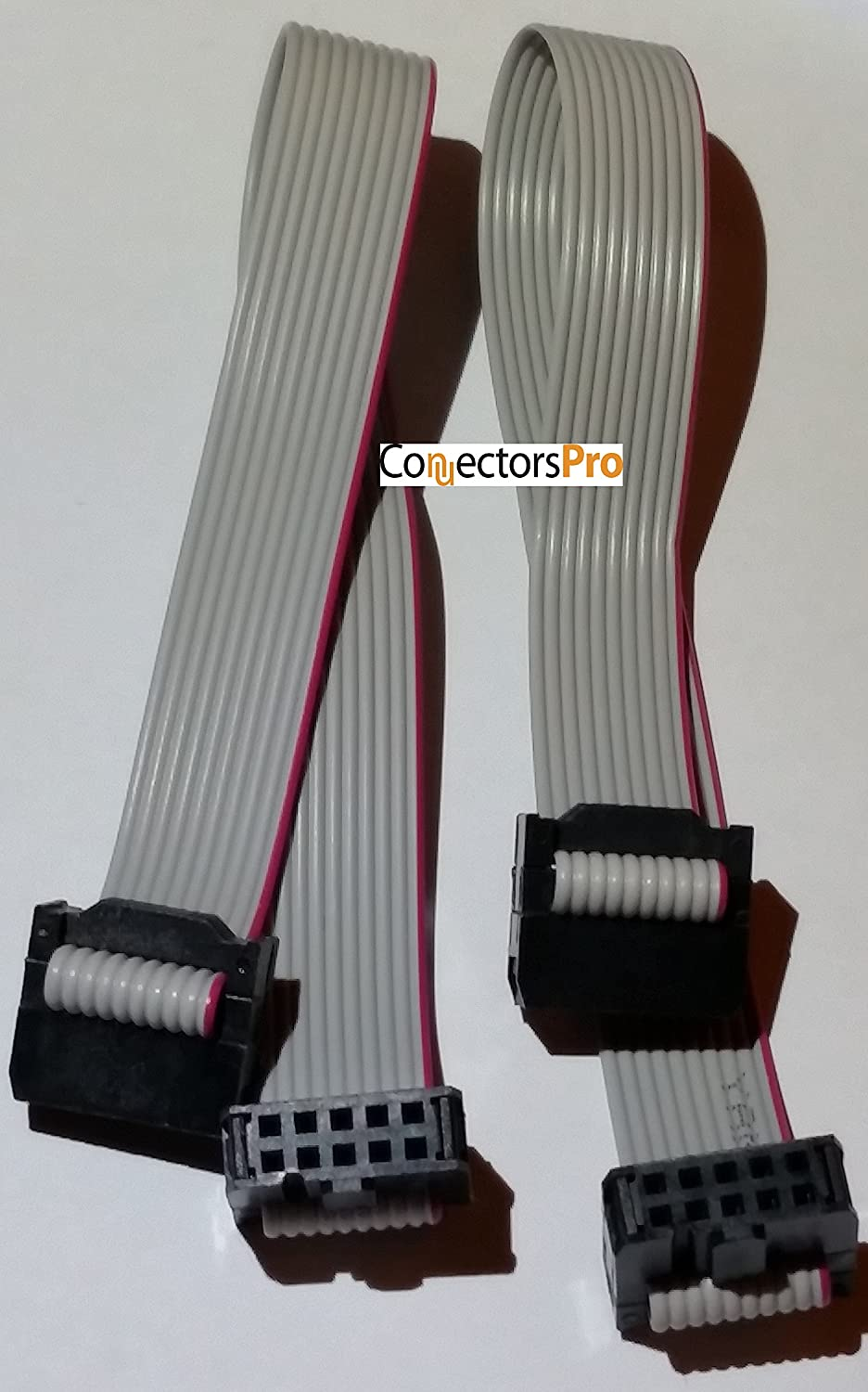 """Connectors Pro IDC 2-Pack 20cm 8"""" Length 10 Pins 1.27mm 0.05"""" Pitch Silver Flat Ribbon Cable with Black 10P 2.54mm FC Dual Row Female to Female Sockets, Net Length is 7 inches 18cm (10P-20cm-2PK)"""