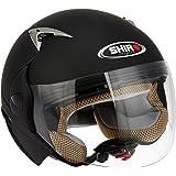 Shiro SH-70 Open Face Helmet with Double Visor(Matte Black,L)