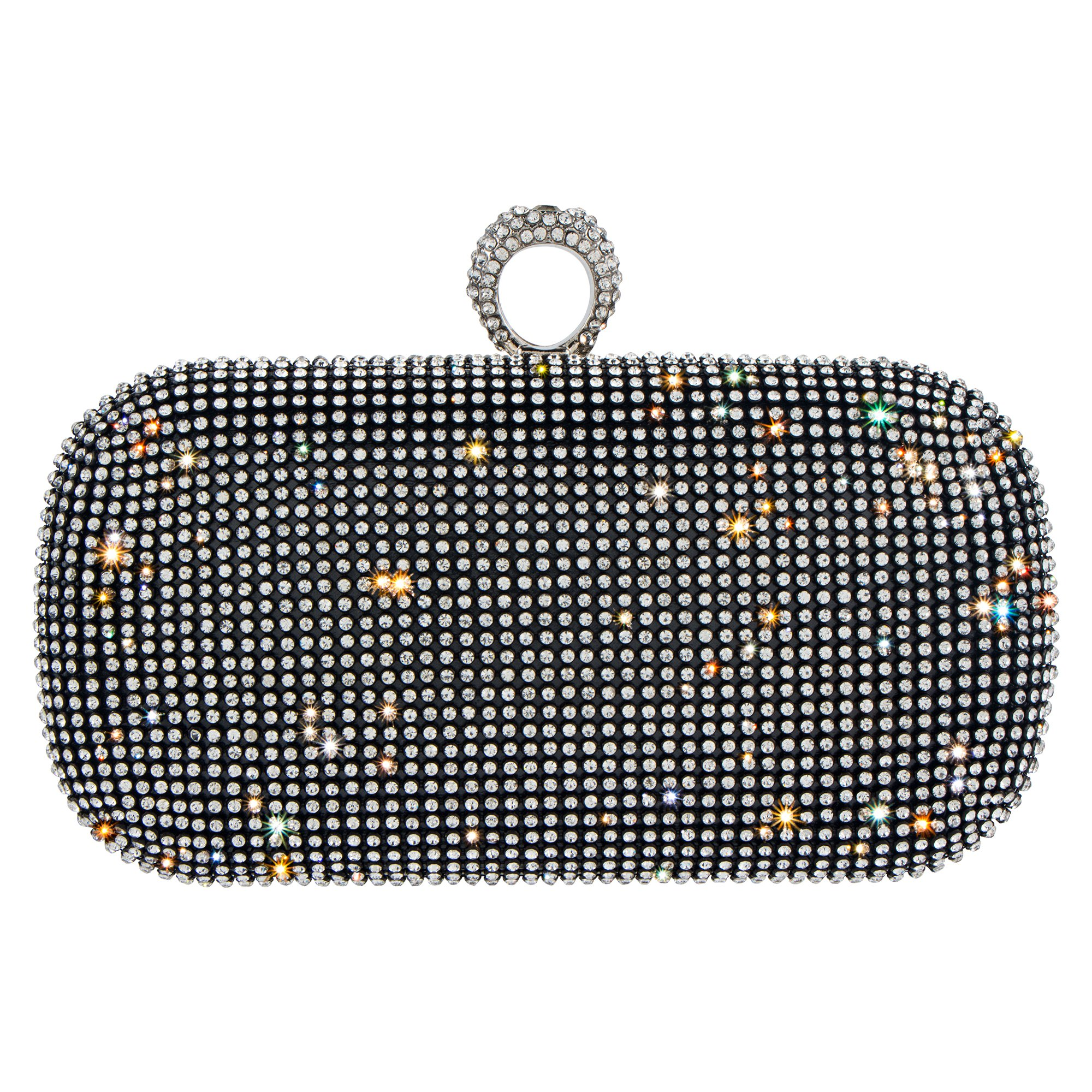 Bagood Women's Shining Rhinestones Square Shape Knuckles Evening Bag Hard Case Clutches Purses Large Black