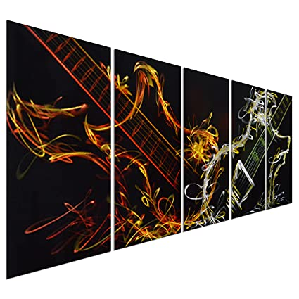 Pure Art Abstract Guitar Heat   Large Music Metal Wall Art Decor   Set Of 5