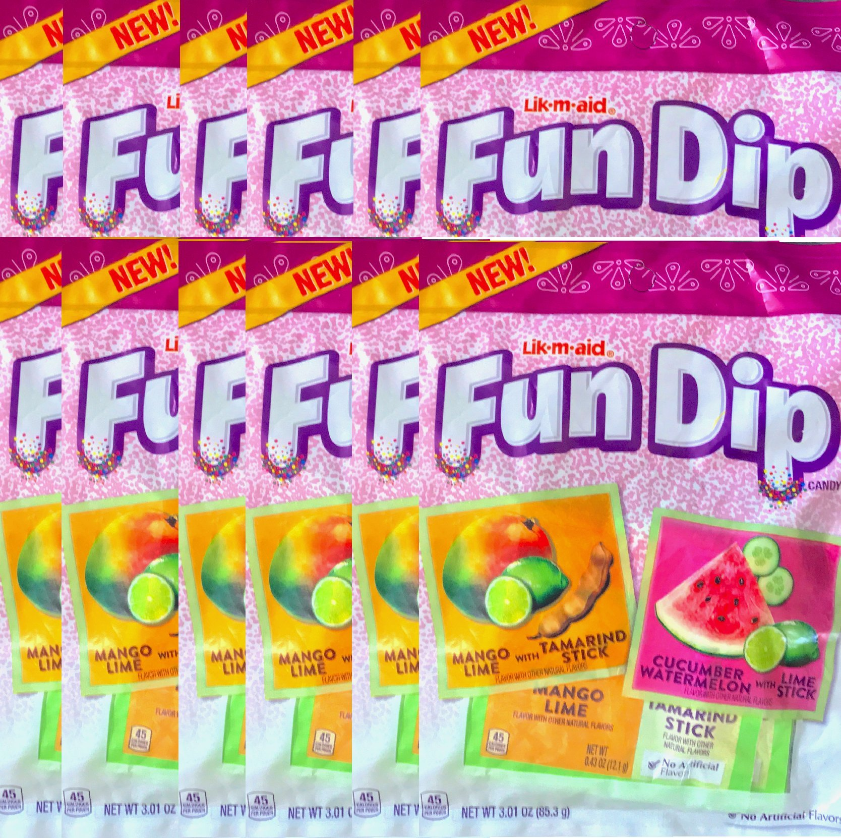 Fun Dip Candy Mango Lime With Tamarindo Stick/Cucumber watermelon With Lime Stick Net Wt 3.01 Oz (12)