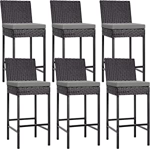 VIVOHOME 6 Packs Outdoor Wicker Barstool Patio Rattan Furniture with Cushions Black