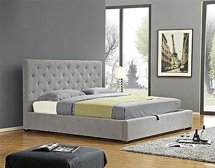 . Amazon com  J and M Furniture 18258 K Prague Storage Bed King Light