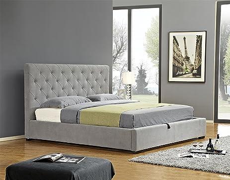Exceptionnel J And M Furniture 18258 K Prague Storage Bed, King, Light Grey