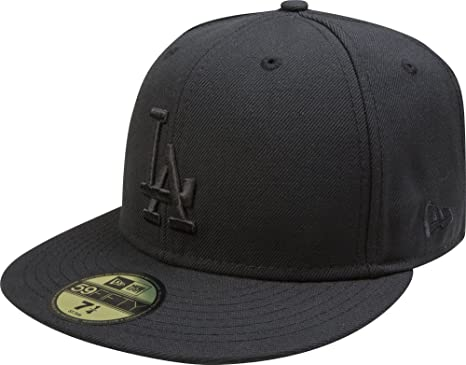 6691ef5be5514 Amazon.com   New Era MLB Los Angeles Dodgers Black on Black 59FIFTY ...