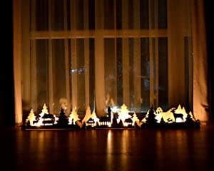 HappyPlywood Christmas Lights Wooden Decorations The Winter's Tale Christmas Village Mantle Decor Fireplace Shelf Decoration Home Holiday Decor Wooden Candlestick Rustic Holders for Mantle