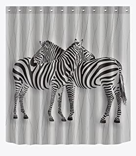 LB Black Grey Zebra Print Shower Curtain For Bathroom Chic African Striped Animal Theme Home