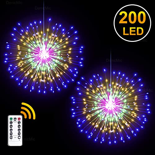 DenicMic 2Pcs Starburst Lights 200 LED Firework Lights Copper LED Christmas Lights, 8 Modes Fairy Light with Remote, Hanging Ball Light for Christmas Bedroom Party Indoor Outdoor Decoration Colorful