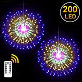 DenicMic 2Pcs Starburst Lights 200 LED Firework Lights Copper LED Christmas Lights, 8 Modes Fairy Light with Remote…