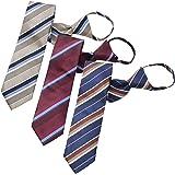 BUSINESSMAN SUPPORT(ビジネスマンサポート) ワンタッチネクタイ ジップ式簡単ネクタイ 3本セット 大剣幅7.5cm