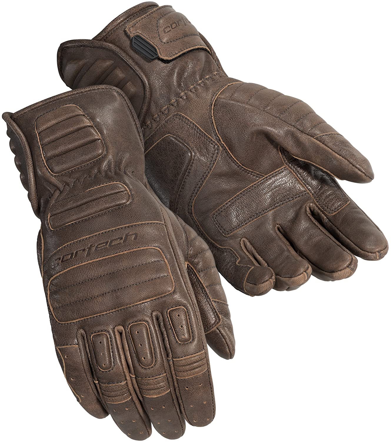 Black, Large Cortech Mens Roughneck Leather Motorcycle Gloves 8337-0125-06