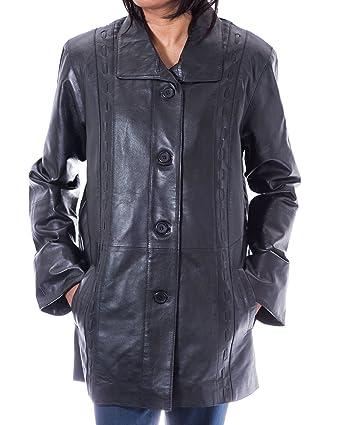 1ee826c8a326b Delle donne nera classica 3 4 Pulsante reale morbida pelle di agnello lungo  cappotto di pelle  Amazon.it  Abbigliamento