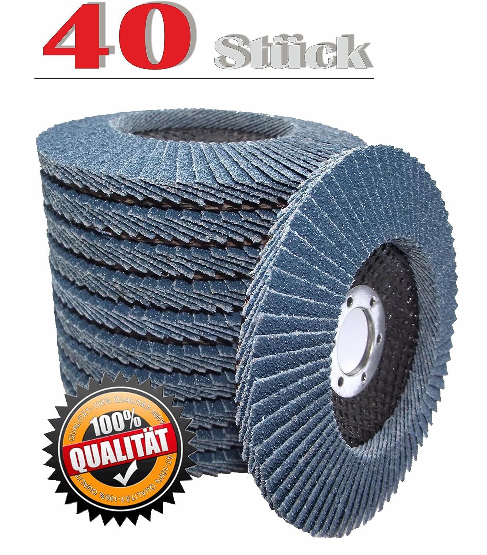 40 Stück Fächerscheiben Lamellenscheiben Schleifscheiben Schleifmopteller 125 mm Korn 60